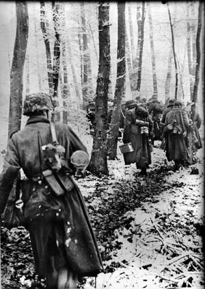 Members of a Volksgrenadier unit move through a Luxembourg forest during the opening hours of their surprise Ardennes Offensive, December 16, 1944.
