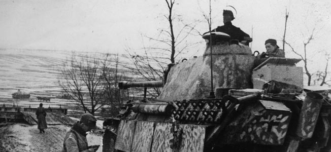 WWII: HUNGARY, 1945.  German Panther tanks at the Gran bridgehead in Hungary. Photograph, 1945.