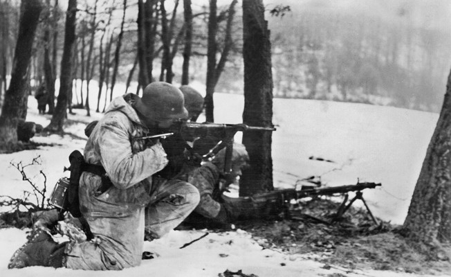 """Hungary: January 24, 1945. Fighting with Soviet troops during the attack operation 'Konrad III'. ©SZ Photo / Scherl / The Image Works NOTE: The copyright notice must include """"The Image Works"""" DO NOT SHORTEN THE NAME OF THE COMPANY"""