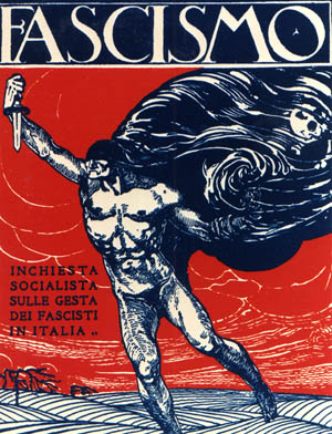 The specter of Fascism haunts Italy in this propaganda poster that was displayed publicly during the rise of Mussolini's totalitarian regime.