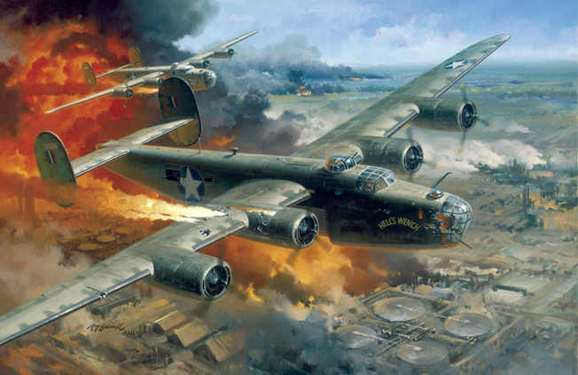 "Ploesti, Romania,  August 1, 1943  ""Hell's Wench,"" a B-24 badly damaged by anti-aircraft artillery fire, led the 93rd Bombardment Group (Heavy) in its daring low level attack on the oil refineries at Ploesti, Romania which supplied two-thirds of Germany's petroleum production at that stage of World War II.  Lieutenant Colonel Addison E. Baker, an Ohio National Guardsman who commanded the 93rd, ignored the fact he was flying over terrain suitable for safe landing.  He refused to break up the lead formation by landing and led his group to the target upon which he dropped his bombs with devastating effect.  Then he left the formation but his valiant attempts to gain enough altitude for the crew to escape by parachute failed and the aircraft crashed.  For their gallant leadership and extraordinary flying skill both Baker and his pilot, Major John L. Jerstad, received the Medal of Honor posthumously.  The raid, nicknamed ""Operation Tidalwave,"" was costly with 54 of the 177 bombers lost and 532 of the 1,726 personnel engaged listed as dead, missing or interned.  Baker's service epitomized the role of National Guard aviators during World War II.  Because of their experience, most of them were transferred from their 29 pre-war observation squadrons after mobilization.  As individuals, they helped train and lead the huge numbers of volunteer airmen who served in Army Air Forces units during the war.  Baker and other Guard aviators carried on a long tradition of dedicated service to the states and nation."