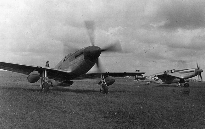 P-51's from the 325th Fighter Group prepare for take-off before a mission over Romania.