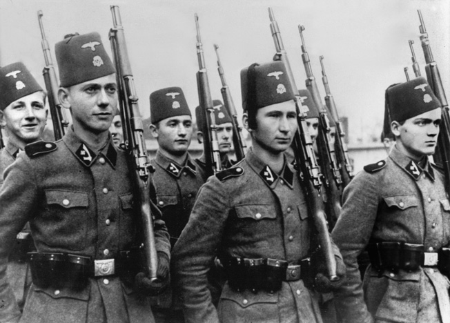 Members of the 13th Waffen Mountain Division of the SS Handschar, composed of Bosnian Muslims and Croatians, during World War II.