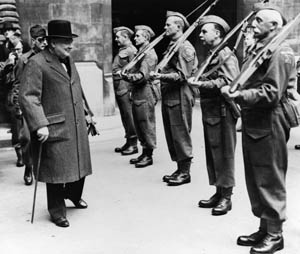 Churchill inspects the Parliamentary Home Guard.