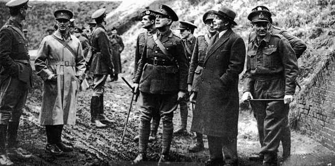 Lord Gort stands at the center of a group of officers along with War Minister Leslie Hore-Belisha, who was fired soon after this photo was taken. General Bernard Montgomery, commander of the 3rd Infantry Division, stands at right.