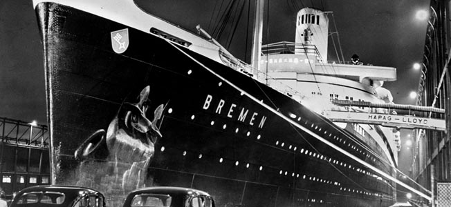 The German liner Brmen, which ran a British blockade, ended her career in a scrap yard.