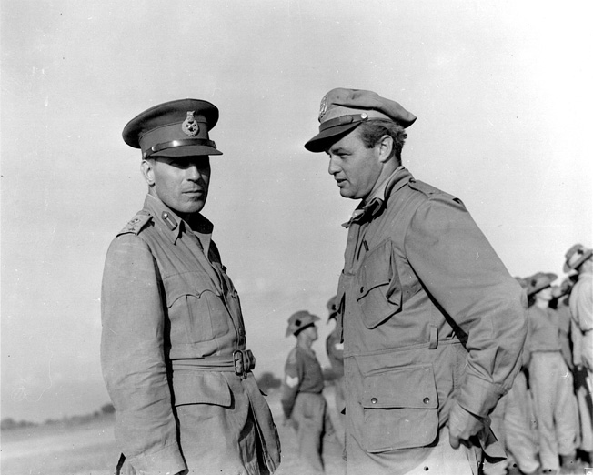 Wingate confers with U.S. Major Philip Cochran in India in December 1943. Cochran was a key commander during the effort to insert and supply Wingate's Chindits behind Japanese lines.
