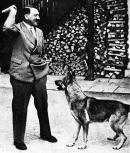 In a photograph released for propaganda purposes, Hitler prepares to throw a stick during a session with Muck, one of his German Shepherds.