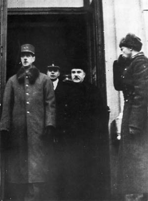 En route to a meeting with Soviet Premier Joseph Stalin, French leader Charles de Gaulle stands at the entrace to the railway station in Moscoww on December 1, 1944. Accompanying de Gaulle is Soviet Foreign Miniter Vyacheslav Molotov.