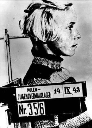 """This photograph of a Polish girl was taken at a euphemistically titled """"youth holding camp"""" in 1943."""