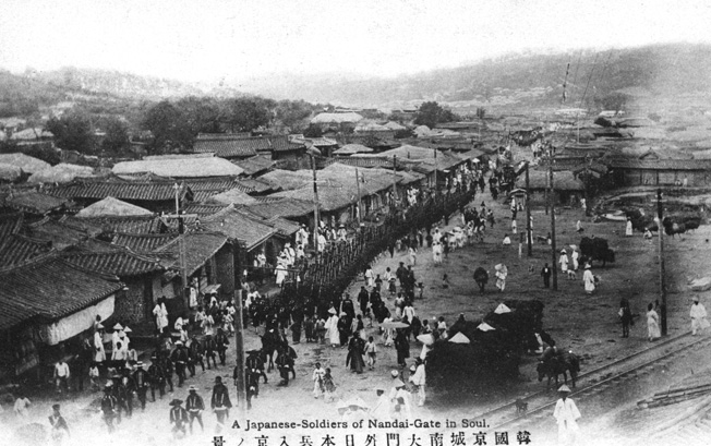 Japanese influence on the Korean peninsula and eventual complete domination had its origin centuries earlier and increased with the Japanese victory in the Russo-Japanese War of 1904-1905. In this photo, Japanese troops march toward the Korean capital of Seoul in 1905.