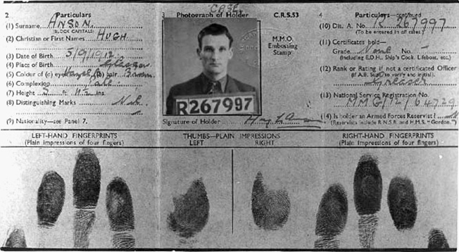 Eddie Chapman's false identification card, complete with fingerprints, lists him under the alias of Hugh Anson.