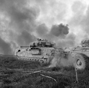 Known as Crocodiles, Churchill tanks equipped with flamethrowers support New Zealand troops as they fight to cross the Senio River on April 9, 1945. By this time, the surrender of all Axis forces in Italy was imminent.
