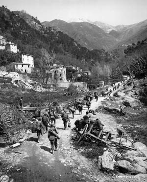 In April 1945, American soldiers of the 92nd Infantry Division advance through the Po Valley. The all-black 92nd Division, nicknamed the Buffalo Soldiers, endured both triumph and tragedy during the Italian campaign.