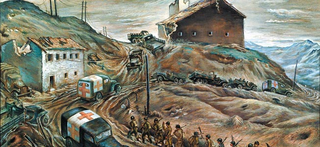 En route to the Italian Front the Allied Fifth and Eighth Armies battled rugged terrain, miserable weather, and determined German resistance.