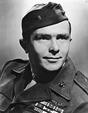 U.S. Marine fighter pilot James E. Swett shot down seven Japanese Aichi D3A Val dive bombers over the Solomons during the attack on LST 449. He received the Medal of Honor for his actions.