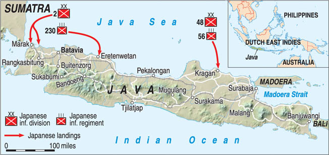 Japanese forces landed at multiple points on the island of Java in early 1942, and the ABDA forces on the island were dispersed to the extent that their ability to lend mutual support was severely limited.