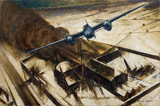 Australian combat artist Dennis Adams captured the drama of Operation Jericho in Breaching of Amiens Prison as a Mosquito bomber rises from the complex, which is shrouded in smoke from bomb blasts.