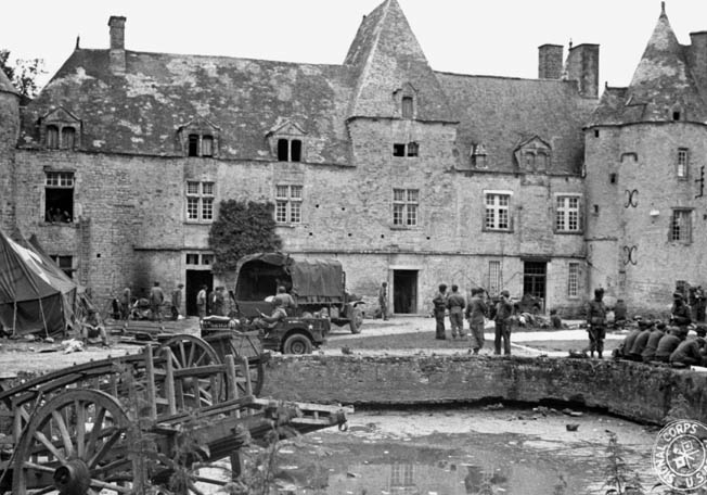 On June 9, 1944, at 11:35 pm, two German bombs scored direct hits on the Château de Colombière at Hiesville. The chateau housed a medical facility where many casualties of the 101st Airborne Division were being treated at the time.