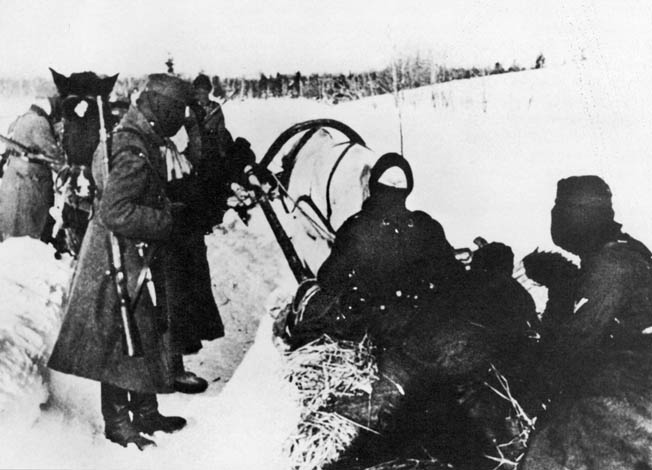 Although the German Army was one of the most mechanized military forces in the world, nothing could completely replace the horse, particularly during the long retreat from the Soviet Union. In this photo taken in January 1945, German solders use horses and sleds to transport supplies during their retreat.