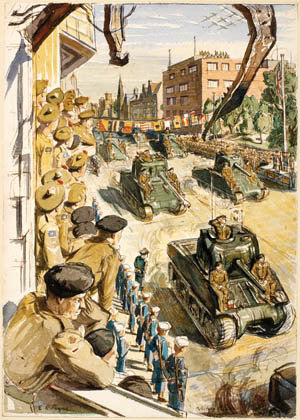 Scottish soldiers crowd windows of the upper floors of a building in the city of Bremerhaven, Germany, watching Sherman tanks take part in a victory parade on May 12, 1945. The city sustained heavy damage during the final offensive of British Field Marshal Bernard Montgomery's 21st Army Group. This painting is by British war artist Edward Payne.