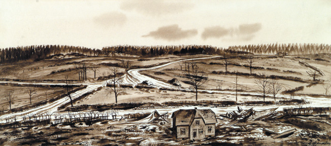 U.S. Army combat artist Harrison S. Standley preserved the wartime look of the crossroads at Lausdell and the Palm farmhouse where a heroic stand was made against the advancing Germans on December 17-18, 1944.