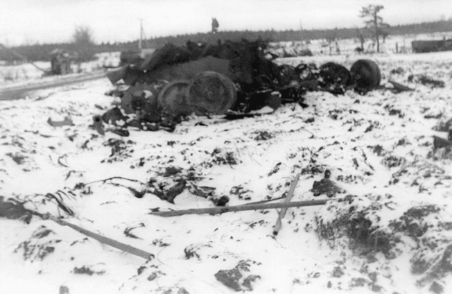 A direct hit from an artillery shell destroyed this Panther in the area held by Company A. Accurate artillery fire was critical in slowing the German advance at Lausdell.