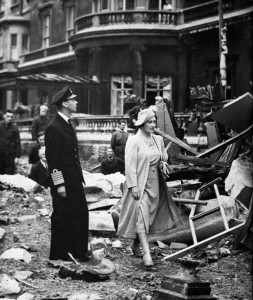 Following the German air raid of September 11, 1940, King George VI and Queen Elizabeth inspect the damage to Buckingham Palace.