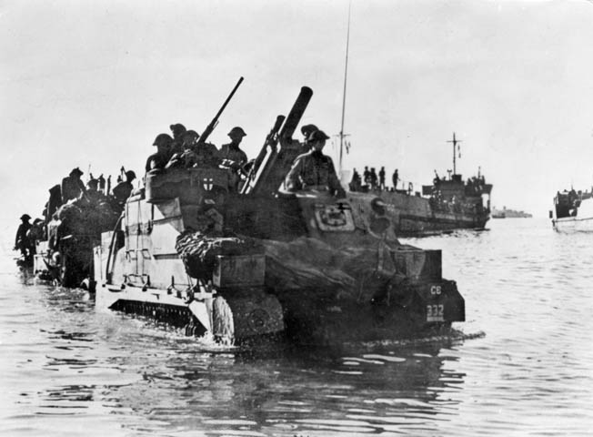 Vichy French officials did not capitulate on the island of Madagascar until November 1942, the same month the Allied landings during Operation Torch were conducted in North Africa. Here, British troops land at Diego Suarez during the effort to gain control of the port city's facilities.