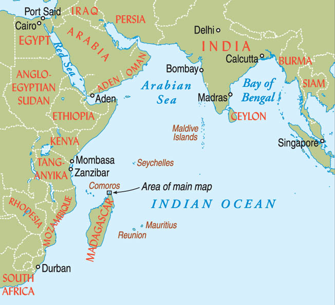 Located in the western Indian Ocean off the coast of East Africa, Madagascar was strategically located near British and Commonwealth interests in the region.