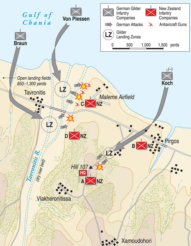German airborne troops descended upon Crete in May 1941 to capture key positions, including the airfield at Maleme. Miscommunication among British commanders resulted in the withdrawal from key positions that might have thwarted the eventual German victory.