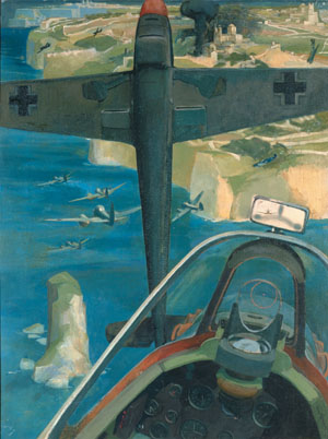 This painting by Denis A. Barham titled Battle Over Malta reveals a Spitfire pilot's view of air combat.