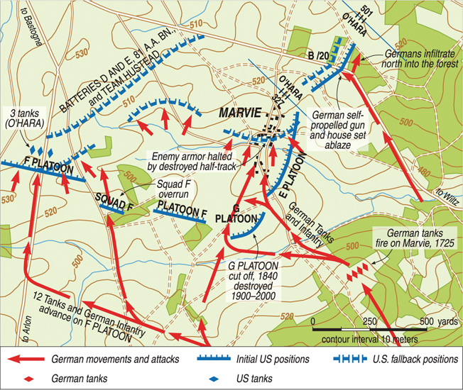 This map details the night battle at Marvie on December 23-24, 1944.