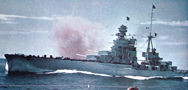 An Italian heavy cruiser of the Zara-class cuts through the waters of the Mediterranean. Three of these warships, the Zara, Pola, and Fiume, armed with 8-inch main weapons, were lost during the Battle of Cape Matapan.