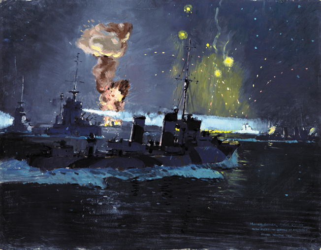 Artist Frank Norton painted this nightime scene of the Battle of Matapan. HMAS Stuart is in the foreground, HMS Havock at left, and two Italian Zara-class destroyers in the background. Radar gave the British the advantage during the night action.