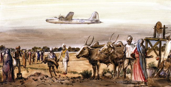 In this painting by Peter Hurd, Indian laborers watch a B-29 approach for a landing. The airstrip at Agra, India had to be reinforced to handle the great weight of the aircraft.