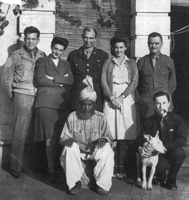 Among the members of the OSS New Delhi team were (left to right) Captain Oliver Caldwell, Marhorie Severyns, Colonel Herbert Little, Elizabeth McIntosh, Lieutenant Robert Ettinger, and Elizabeth's dog, Angel Puss.