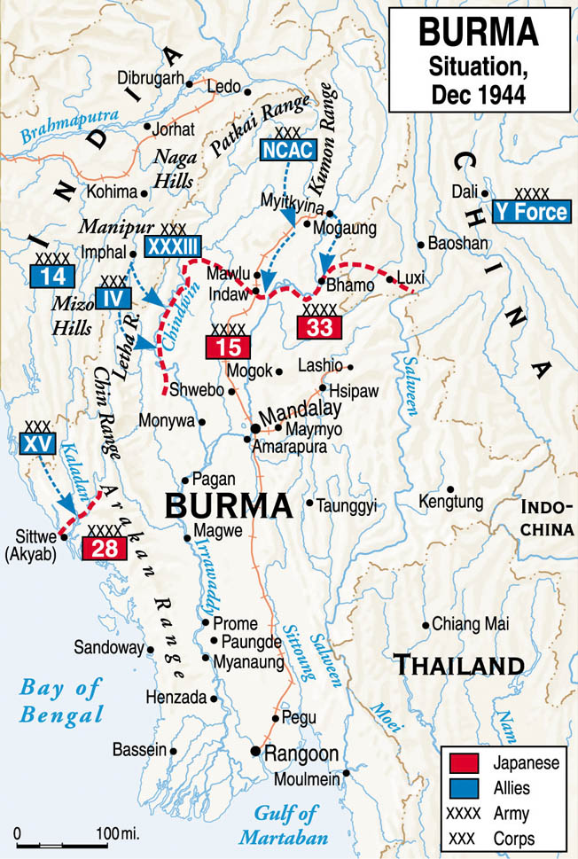 From Mandalay, 4 Corps would push south toward Rangoon while elements of the British 15th Corps would make an amphibious assault on the city.
