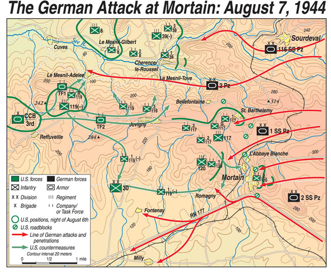 Hitler launched an ill-advised counterattack toward Mortain in hope of being able to stem the Allied tide; all it did was cost him men and equipment he could not afford to lose.