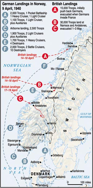 Operation Weserübung involved the landing of some 120,000 troops by sea and air along nearly the whole length of Norway's coast. The British then invaded in an unsuccessful attempt to evict the Germans.