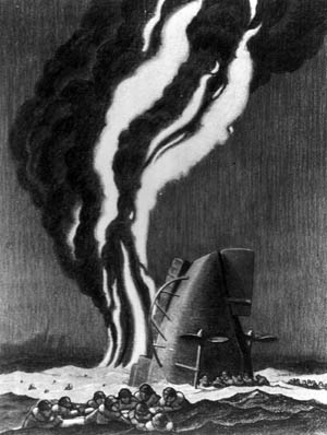 Lieutenant Commander Griffith B. Coale, U.S. Naval Reserve, observed the sinking of the destroyer USS Reuben James at the hands of a German submarine on the night of October 30-31, 1941, from the accompanying destroyer USS Niblack. Coale later produced this vivid and haunting image of the event, which occurred six weeks before the United States was officially at war with Germany.