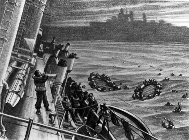 Coale also drew this scene of the rescue of sailors from the Reuben James on the open sea.