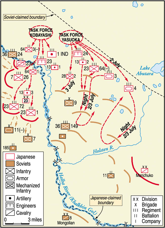 Soviet General Georgi Zhukov used combined arms, overwhelming force, and deception to defeat Japanese forces invading Soviet-protected Mongolia in summer 1939. Zhukov's victory ensured that the Soviet Union would not have to fight on two fronts in World War II.