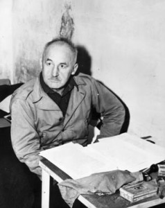 Nazi Julius Streicher, publisher of the virulently anti-Semitic newspaper Der Sturmer, stares blankly from inside his cell. He was one of the most bizarre and perverse of the high-ranking Nazis on trial at Nuremberg.