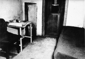 This photograph of a typical cell at the Palace of Justice reveals the spartan accommodations and the lack of personal privacy afforded the prisoners, particularly after the suicide of Robert Ley.