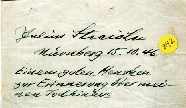 "Streicher's personal handwritten note to Pfc. Michael Prestianni reads, ""To a good man in remembrance of my going forth to death."""