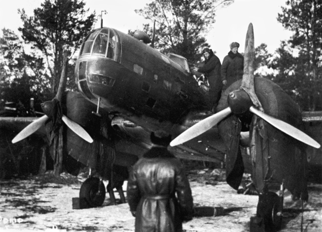 57 years ago, overnight from August 7 to 8 , 1941 a special air group of the first air force regiment of the Baltic Fleet under command of Colonel Y. Preobrazhensky took off from Kagul airfield on the island of Saaremaa ton make a first bombing attack at Berlin. All together from August 8 up to September 4 Soviet aviation made 9 attacks at Berlin and other military units of fascist Germany. The war plane of Commander of the first air force regiment, Hero of the Soviet Union, Colonel Y. Preobrazhensky prior to the flight for Berlin.