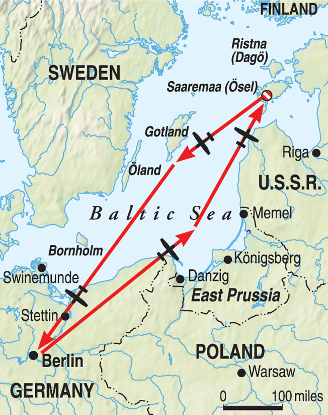 The Soviet bombers that attacked Berlin during Operation B flew a long, arduous route from their bases near the Baltic Sea to the German capital. The planes were blacked out and often flew at high altitudes, stretching the limits of human endurance.