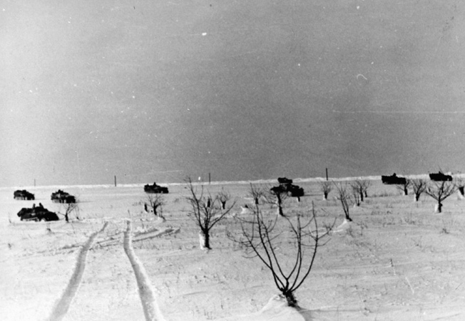 Spread across the wintry landscape of the Soviet Union, German armored vehicles advance eastward toward the major cities of Russia. The German timetable was upset by tenacious Soviet defenses and then compounded by horrific winter weather.