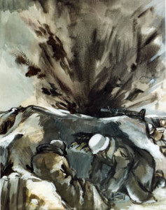 In the 1942 painting Shell Fire Near Trench Position by W. Rensellek, German soldiers duck for cover as a Russian shell explodes near their machine gun position. Dressed in white camouflage uniform covers, these Germans were subjected to fierce bombardment during the Soviet winter offensive.